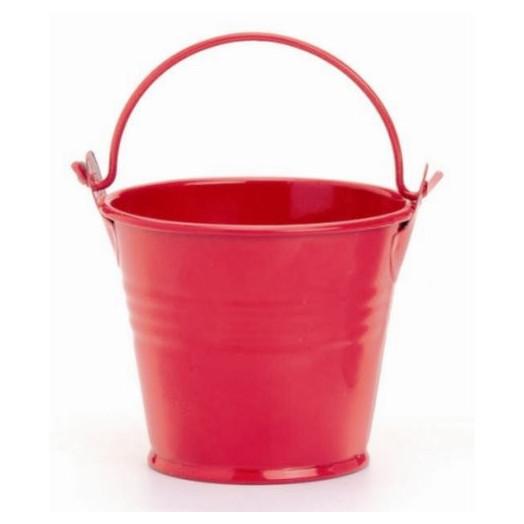 Seau en métal 8x7 cm Rouge - Contenant pour Bougie