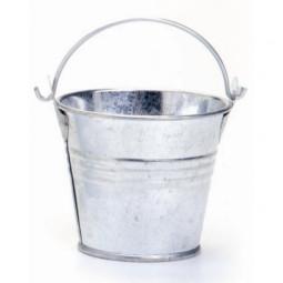 Seau en métal 8x7 cm galvanisé - Contenant pour Bougie