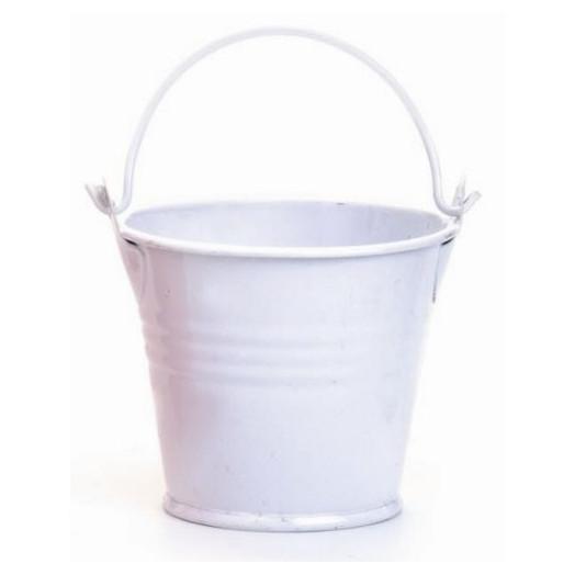 Seau en métal 8x7 cm Blanc - Contenant pour Bougie