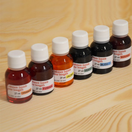 Lot de 6 colorants liquide 27ml pour la coloration de bougies