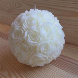 Bougie boule multi-roses diamètre 15 cm