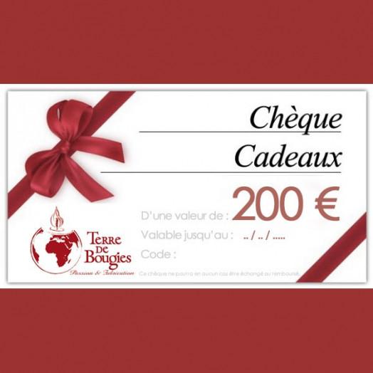 Chèque cadeau Terre De Bougies d'une valeur de 200 €