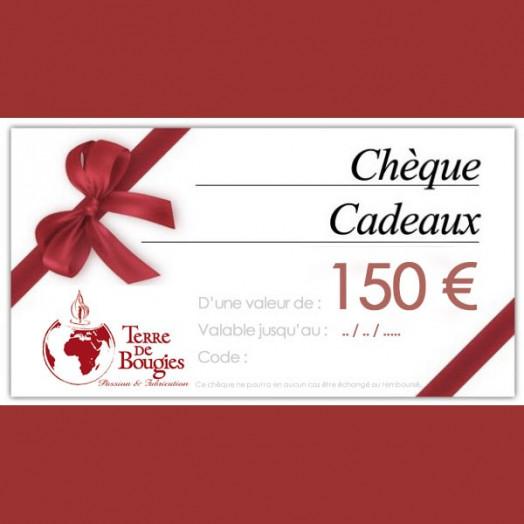 Chèque cadeau d'une valeur de 150 €
