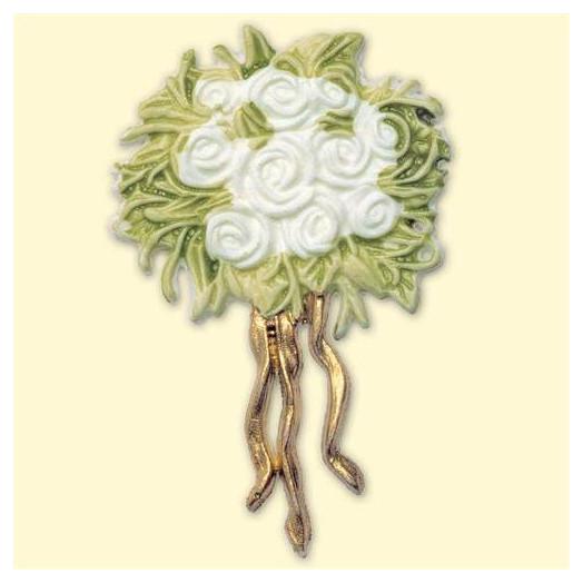 Décoration pour bougies en cire - Roses blanches
