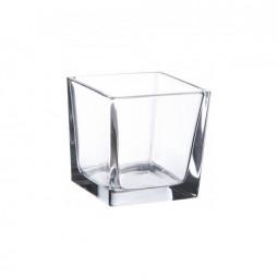 Grand verre pour bougies carré - Blanc