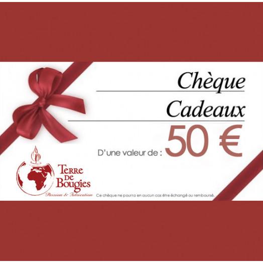 Chèque cadeau Terre De Bougies d'une valeur de 50 €