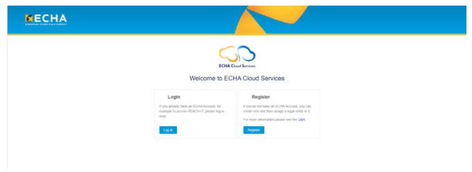 Inscription sur le site de l'ECHA